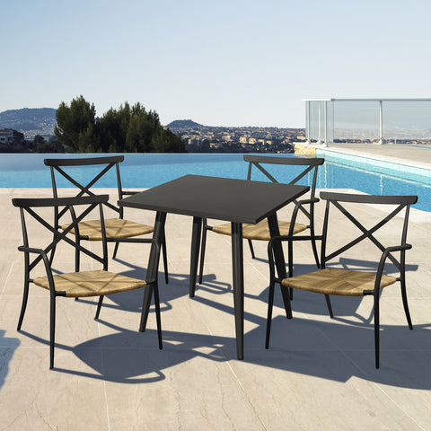 Milos Rattan & Aluminium 4 Seater Dining Set - - Garden and Conservatory by Cozy Bay available from Harley & Lola - 1