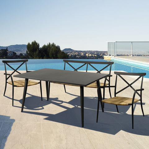 Milos Rattan & Aluminium 4 Seater Sofa Dining Set - - Garden and Conservatory by Cozy Bay available from Harley & Lola - 1