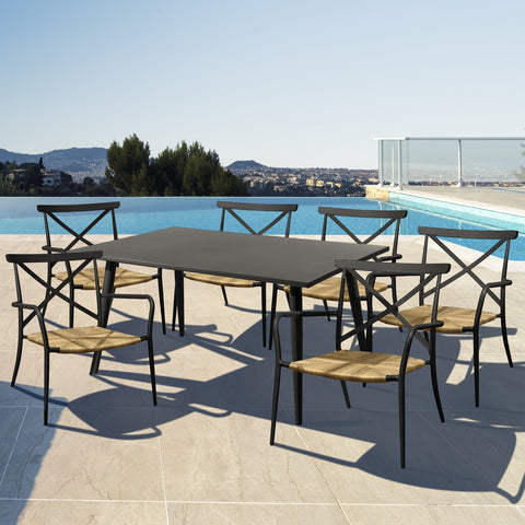 Milos Rattan & Aluminium 6 Seater Dining Set - - Garden and Conservatory by Cozy Bay available from Harley & Lola - 1