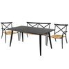 Milos Rattan & Aluminium 4 Seater Sofa Dining Set -Black - Garden and Conservatory by Cozy Bay available from Harley & Lola - 2