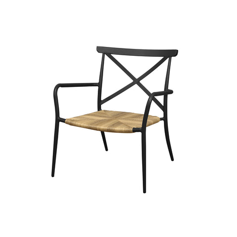 Milos Rattan & Aluminium Arm Chair -Black - Garden and Conservatory by Cozy Bay available from Harley & Lola - 1