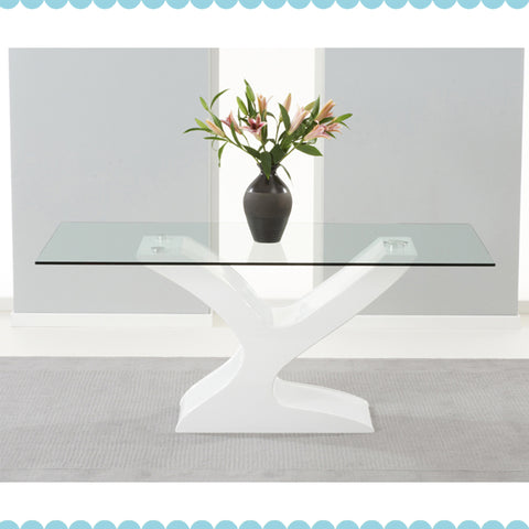 Natalie 180Cm Glass And White Gloss Table by Harley & Lola