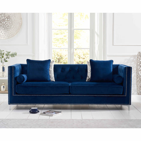 Mark Harris New England 4 Seater Sofa Green Velvet
