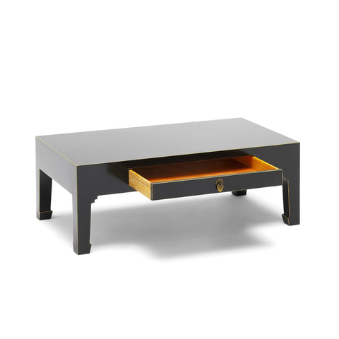 Baumhaus The Nine Schools Qing Black and Gilt Coffee Table with Drawer