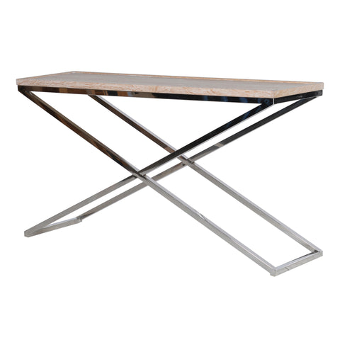 Saxo Oak And Steel Console Table
