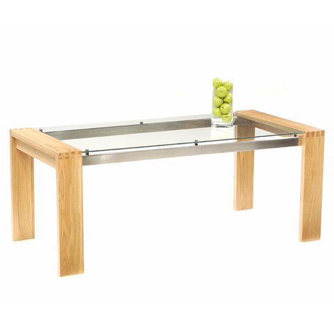 Roma Oak and Glass 200cm Dining Table