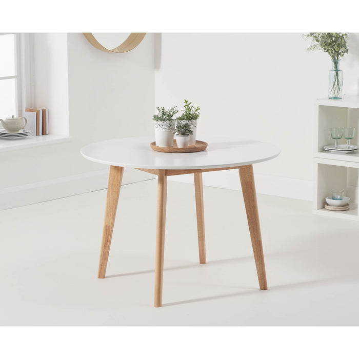 Mark Harris Robina White/Oak 110CM Round Dining Table