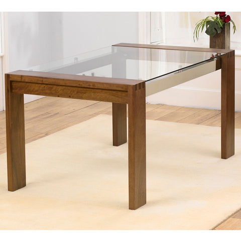 Roma Walnut and Glass 150cm Dining Table