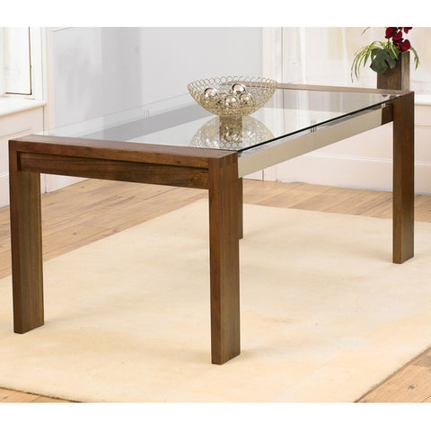 Roma Walnut and Glass 180cm Dining Table