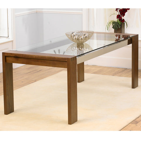 Roma Walnut and Glass 200cm Dining Table