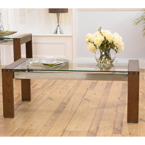 Roma Walnut and Glass Coffee Table