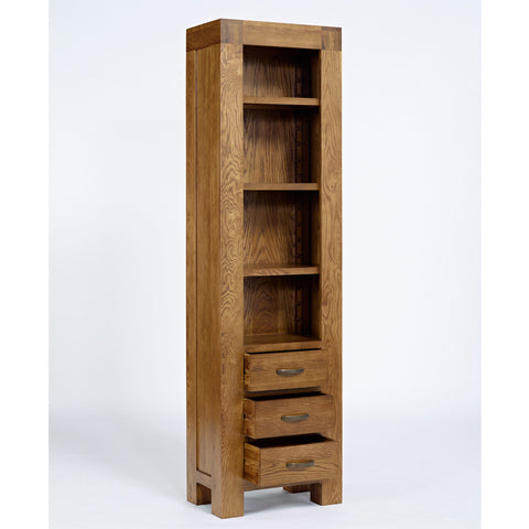 Santana Rustic Oak Slim Bookcase