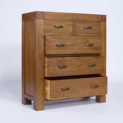 Santana Rustic Oak 2+3 Chest of Drawers