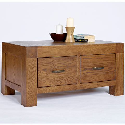 Santana Rustic Oak 2 Drawer Coffee Table