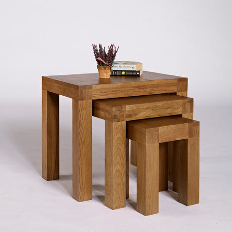 Santana Rustic Oak Nest of Tables