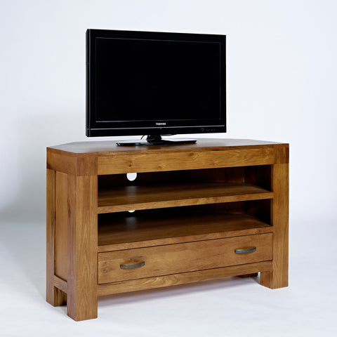 Santana Rustic Oak Corner TV Unit - - Living Room by Ametis available from Harley & Lola - 1