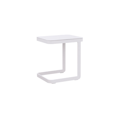 Verona Aluminium U Shape Side Table -White & Grey - Garden and Conservatory by Cozy Bay available from Harley & Lola - 1