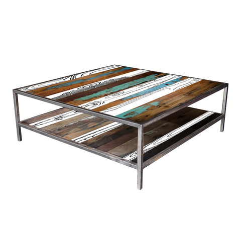 Nordic Reclaimed Evolve Rectangular Coffee Table w shelf