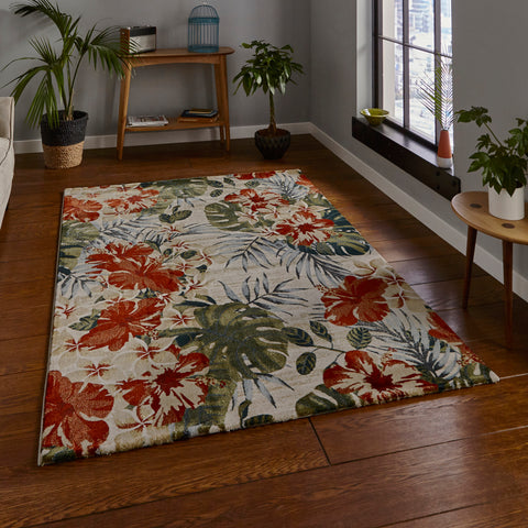 Think Rugs Tropics 6096 Cream/Multi-coloured