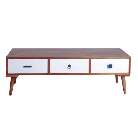 Malmo Retro Three Drawer Wide Side Table