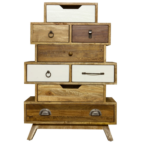Dalston Neutral Staggered Chest of Drawers