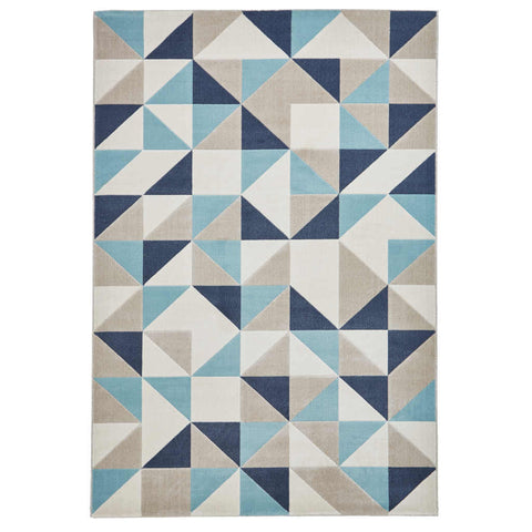 Think Rugs Vancouver 18214 Beige/Blue