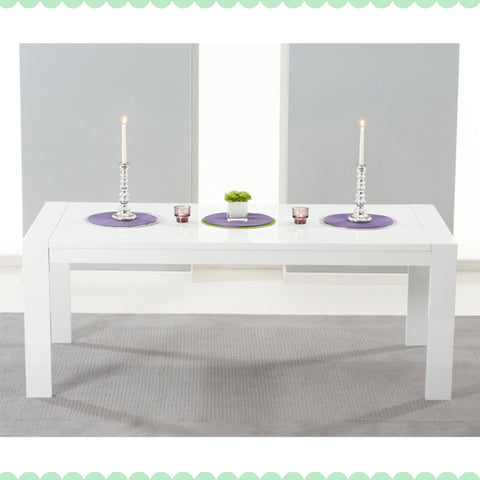 Venice White High Gloss Extending Dining Table by Harley & Lola