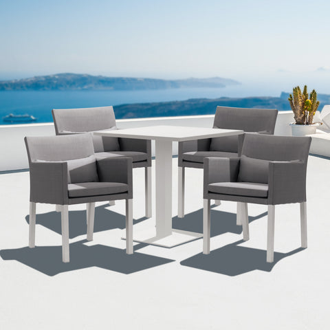 Cozy Bay Verona Aluminium & Fabric 4 Seater Dining Set