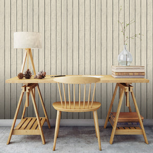 Debbie McKeegan Sawn Wood Slats Wallpaper - Bone