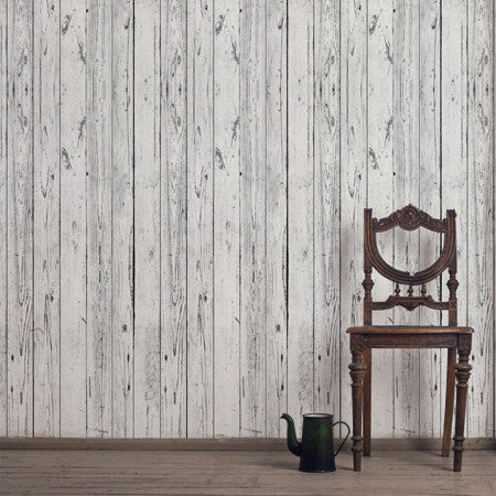 Lime Washed Boards Wallpaper