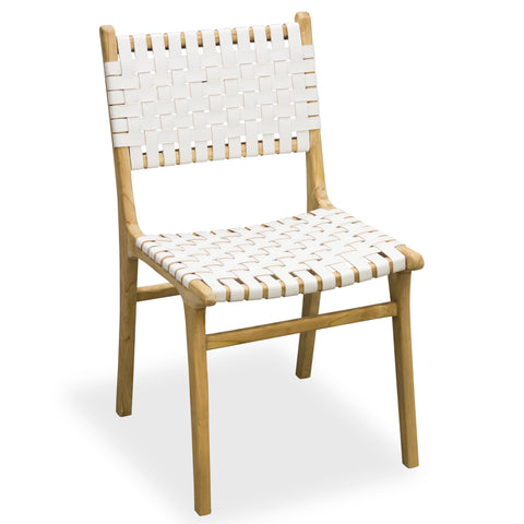 Hoxton White Woven Leather Dining Chair