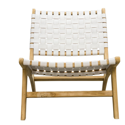 Hoxton White Woven Leather Lazy Chair