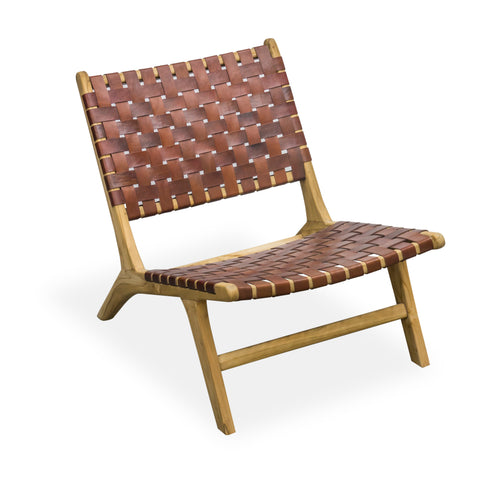 Hoxton Tan Woven Leather Lazy Chair