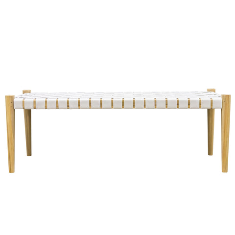 Hoxton White Woven Leather Bench