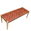 Hoxton Tan Woven Leather Bench