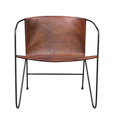Hoxton Leather Lazy Chair Tan