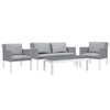 Verona Aluminium & Fabric 4 Seater Lounge Set -White & Grey - Garden and Conservatory by Cozy Bay available from Harley & Lola - 3