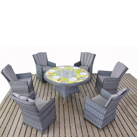 Port Royal Platinum 6 Seat Round Dining Set