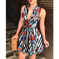 Facebook  Pinterest Peacock Floral Print Tie Waist Sleeveless Shirt Dress