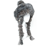Hat with braids made of synthetic fur