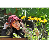 Boiled wool cloche hat with flower