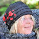 Boiled wool beanie hat with flower