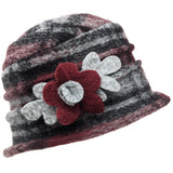 Boiled wool hat with flower