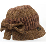 Tweed cloche hat with buckle