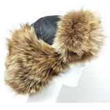 Aviator hat in leather and coyote fur