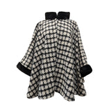 Houndstooth cape with synthetic fur