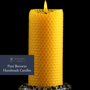Pure Handmade Beeswax Pillar Candle 20cm x 5cm - Maters & Co