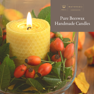 Pure Handmade Beeswax Chunky Candle 6cm x 6cm - Maters & Co