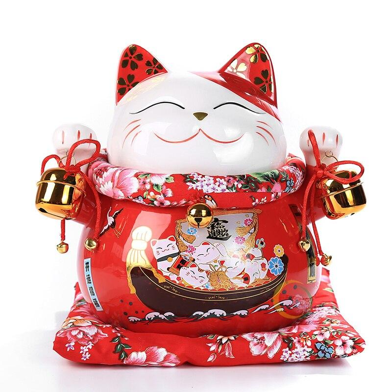 10 inch Ceramic Maneki Neko Fortune Cat Home Decoration Porcelain Ornaments Cute Lucky Cat Money Box Fengshui Crafts | Ugoshi