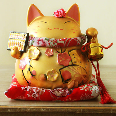 Genuine gold Japan Lucky Cat hand oversize ceramic ornaments shop opened 9 inch holiday gifts crafts suit living room Desktop - Univers Japonais